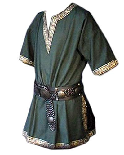 Herren Oberteile Ritter Mittelalter-Kostüm Retro Kurzarm V-Ausschnitt Shirt Seite Stickerei T-Shirt Grün M (Ritter Kostüm Herren)