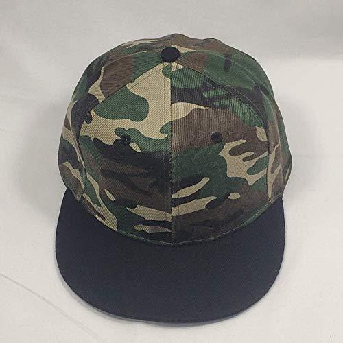 FXSYL Baseball Cap Einstellbare Camouflage Twill Papa Hut schwarz Visier Baseball Cap Männer Armee grün Flache Snapback Cap 2 Design,Schwarz Panel-camouflage Twill Cap
