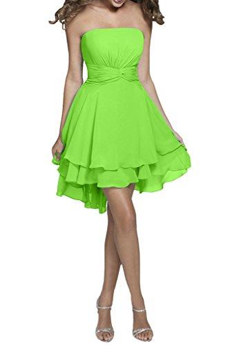 Missdressy Damen Chiffon A-Linie Falte Abendkleid kurz Traegerlos Grün