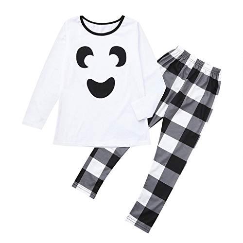 Familie Kleidung Pyjamas Set Dasongff Halloween Geist Drucken Sweatshirt + Hose Cartoon Tops Plaid Hosen Familien Outfit Autumn Winter Clothing Sleepwear Für die Ganze Familie