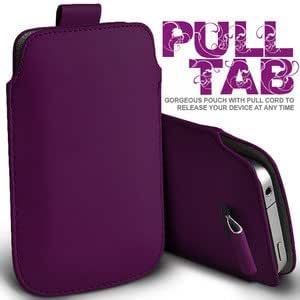 Gadgets World Pull Tab Pu Leather Pouch Cover Case Only Fits Samsung E1200,E2121 - dark purple