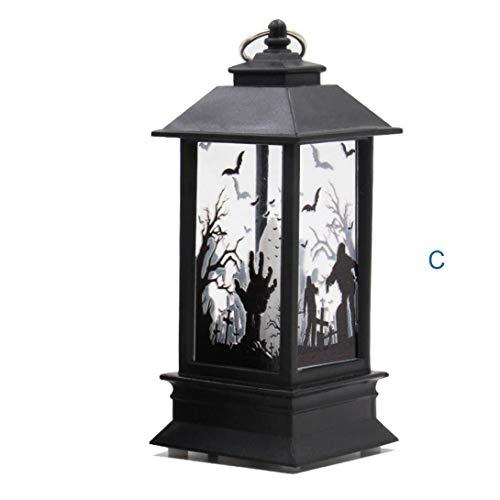 Lichter, Halloween Themed,Simulierte Kürbis Hand Schläger Hexe Flamme Licht Öllampe Halloween Kerze mit LED Teelicht Kerzen für Halloween Deko Party (Colour C) ()