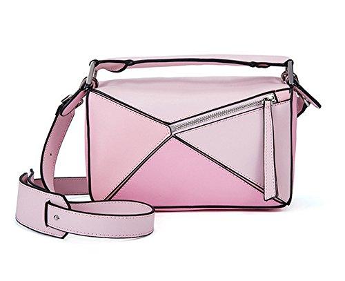 Sacs à main pour femme Xinmaoyuan Fashion Couture géométrique Sac à bandoulière sac à main en cuir Pink