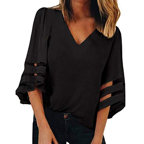 XNBZW Tops Women V Neck Tops Loose 3/4 Bell Sleeves Blouse Solid Color Lace Patchwork Tees Casual Shirt Short Sleeve Sweatshirt Pullover T Shirt 3/4 Length Down Coat