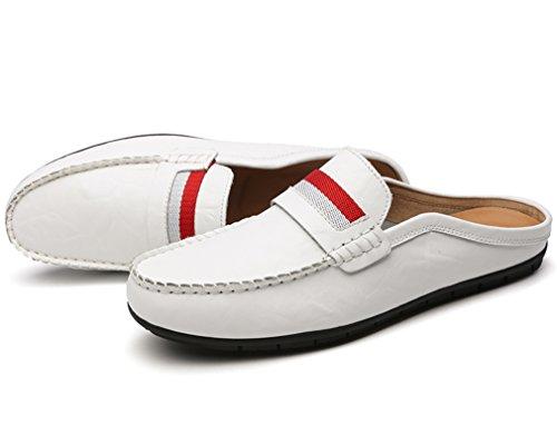 YIRUIYA Herren Leder Slipper Gentleman Pantoffel Schuhe Weiß