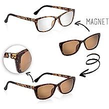 bifocales Gafas Gafas de Lectura Mujer Magnético con sol Clip marrón Havanna Braun Matt +2
