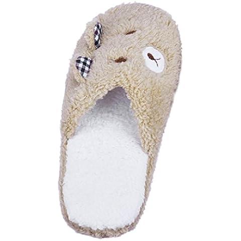 SMARTLADY Zapatillas de Estar por Casa Adorable Oso Suave Zapatos Acolchados de Algodón