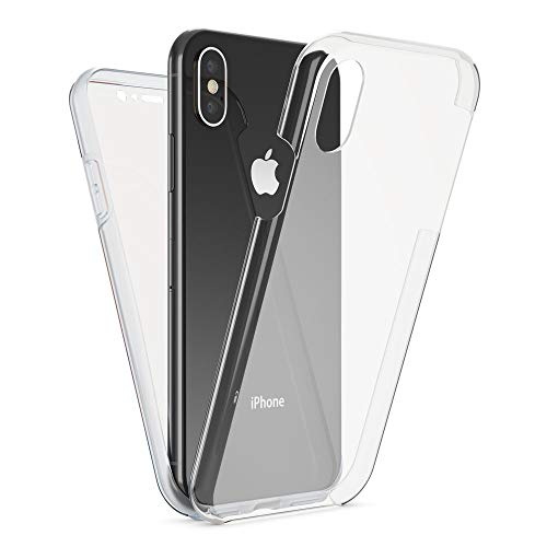 NALIA 360 Grad Handyhülle kompatibel mit Apple iPhone X XS, Full-Cover Silikon Bumper mit...