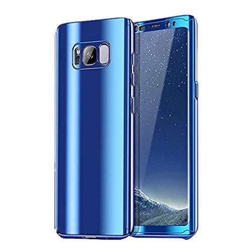 Galaxy S8/S8 Plus Hüllen, Galaxy Note 8 Handyhülle 3 in 1 Ultra Dünn Case Hartschale 360 Grad Hart PC Mirror Hülle Spiegel Hardcase Backcover Schutzhülle (Samsung Galaxy Note 8, Blau)