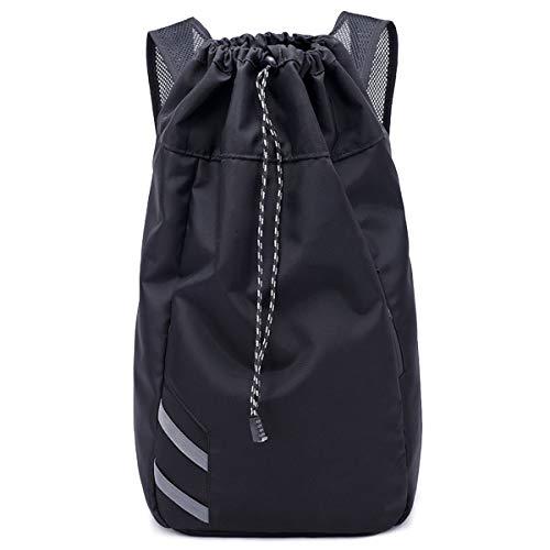 AUVSTAR – Bolsa de baloncesto para actividades al aire libre, bolsa de viaje, impermeable para universidad, mochila para mujeres/hombres, apto para deportes al aire libre, viajes, ocio, ordenador portátil, iPad (negro)