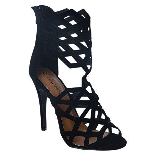 NUOVO da donna tacco a spillo alto GABBIA Cut Out da donna alla schiava stivali caviglia sandali scarpe numero Camoscio Nero / Punta Aperta