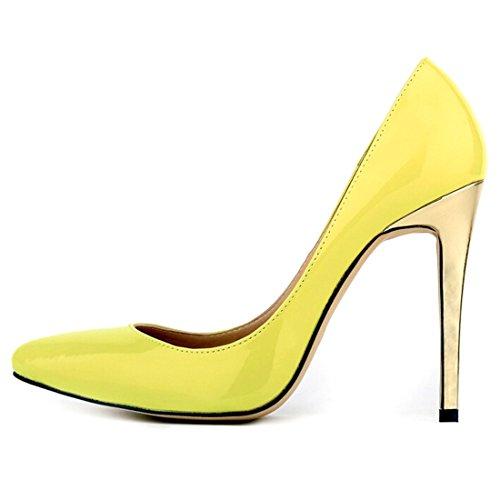 Oasap Femme Chaussure A Talons Hauts Pointu Talons Aiguilles PU Cuir Abricot