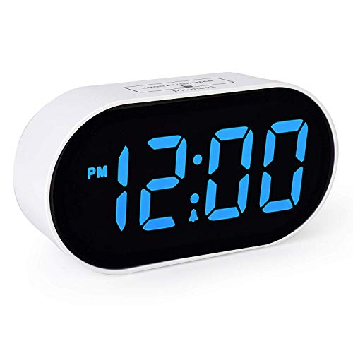 Plumeet Despertador Electrónico, Reloj Despertador LED con Atenuador y 2 Niveles de Volumen, Despertador...