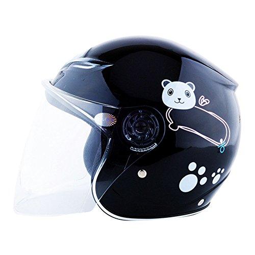 OuYou Casco Abiertos Patrón Lindo Oso Protector de Bicicleta Moto Para Niños Niñas Chicos Chicas En Cuatro Colores (Negro)
