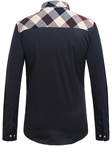 SSLR Homme Chemise à Carreaux Casual Manche Longue en Coton Rouge Blanc