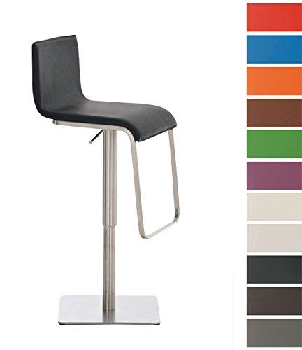 CLP Edelstahl Design Barhocker LIMON mit verstellbarer Sitzhöhe - Drehbar mit hochwertigen Kunstleder-Bezug braun