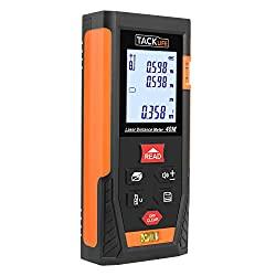 Laser Measure, Tacklife HD40m Laser Distance Meter,Portable Handle Digital Measure Tool with 2 Bubble Level, Unique Mute Function and Larger Backlit LCD 4 Line Display (Battery Included)