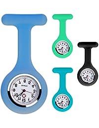 Set di 4 colori per orologio da infermiera, spilla in silicone con spilla, clip, design per controllo delle infezioni, assistenza sanitaria, infermiere, medico, sportivo. (Due Blu, Verde Nero)