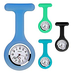 4er Set Farbe Krankenschwesternuhr Brosche Silikon mit Nadel, Clip, Infektionskontrolle, Gesundheitspflege, Krankenschwester, Arzt, Sporter-Brosche