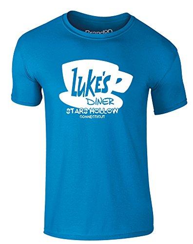 Brand88 - Luke's Diner, Erwachsene Gedrucktes T-Shirt Azurblau/Weiß