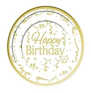 Forum Novelties Happy Birthday Plate Plastic (10 pack) 26cm, color gold, white (X81617)