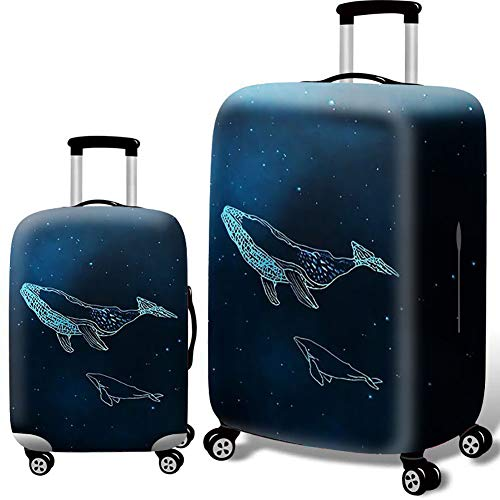 Gepäckabfertigung Case Protective Cover Trolley Case Travel Dustproof Elastic Bag Thick Air Layer Elastic Cloth 20 24 Inch Thick Printing-Whale with Starry Sky,S
