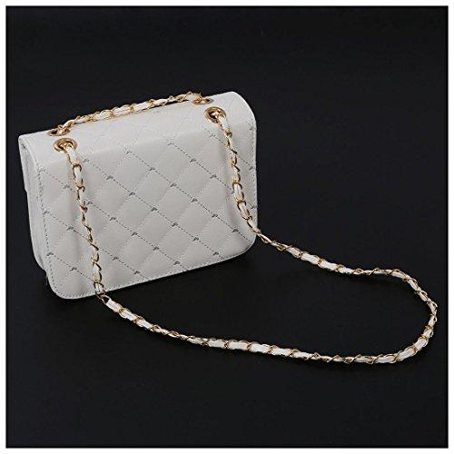 TOOGOO(R) Il modo caldo delle donne dei sacchetti di spalla della borsa del sacchetto di sera del sacchetto di cuoio delle donne del sacchetto di cuoio delle donne dei sacchetti-rosa chiaro bianca