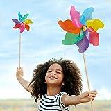 Relaxdays Set XXL da 2 Girandole a Vento, Puntale da Giardino, Arcobaleno, per Bambini, Gioco con Fiori, PP, Colorato