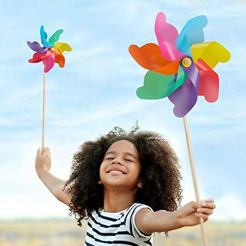 Relaxdays XXL Windrad 2er Set, Gartenstecker Regenbogen, für Kinder, Windspiel Blume, Balkon, Terrasse, PP, Holz, bunt | Garten > Dekoration > Windräder | Relaxdays