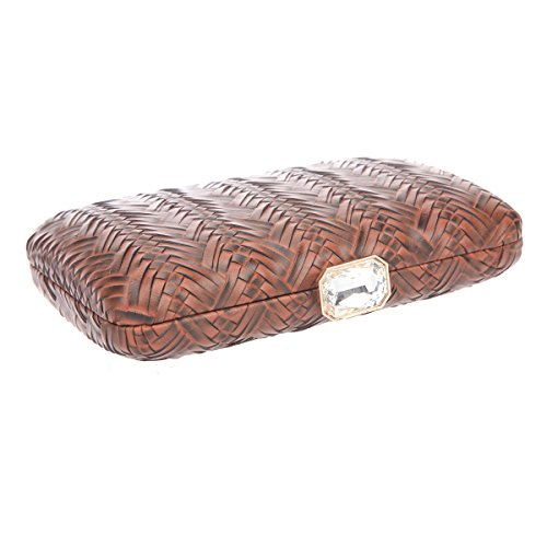 Bonjanvye Big Man Made Diamond PU Leather Weave Evening Bags And Clutches For Women Gold coffee