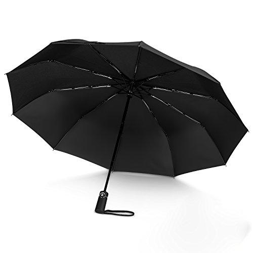 Paraguas Plegable Automático, Hongyifa Paraguas Antiviento Compacto Paraguas de Viaje portátil para Hombres y Mujeres -Negro