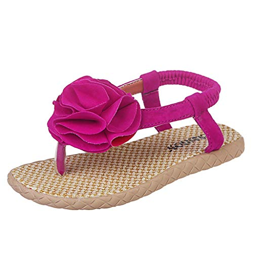 GJKK Mädchen Sandalen, Sommer Sandalen mit weichen Sohlen Strand T-Spangen Sandalen Blume Prinzessin Schuhe Sandalen Offene Sandalen (30 EU, Hot ()