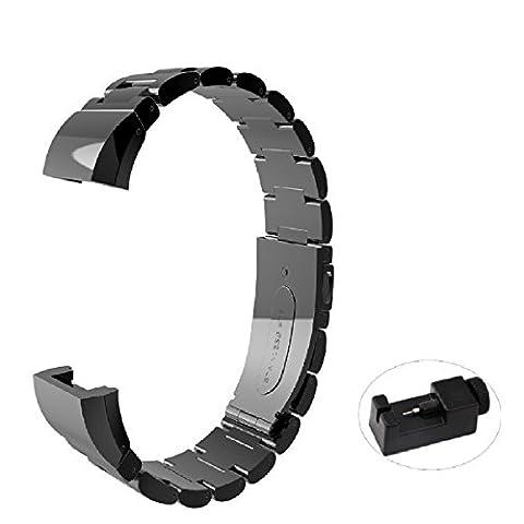 Bracelet, électrique, accessoire de fitness tracker d'activité Bracelet Sangle réglable en acier inoxydable avec outil de réparation pour Fitbit Charge 2, femme Homme, noir