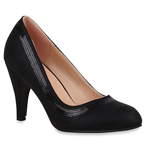 Klassische Damen Lack Pumps Elegant Abend Metallic Schuhe 65701 Schwarz Pailletten 38 Flandell