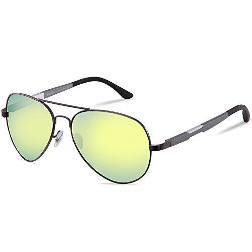 DUCO Unisex Fliegerbrille Polarisierte Sonnenbrille, Pilotenbrille mit Federscharnier, Etui und Putztuch, 3026 (Gelbgrün Gespiegelt)