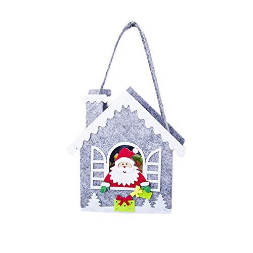 Geryy Bags Kreative Süßigkeitentasche, Geschenktüten, Apfelbeutel, Kinder, Baumdekoration, Anhänger, Stoff, Santa Claus House, 14cm*20cm