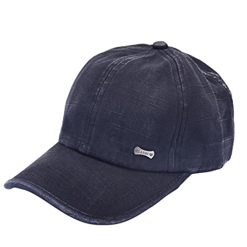 Rawdah Mujeres Hombres sombrero gorra de béisbol solido Hip Hop Ajustable (Negro)