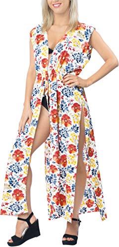 LA LEELA Châle Kimono Cardigan Chemise Plage Femme Imprimé en Bikini Cover-Up Long Blouse(Taille Unique) A