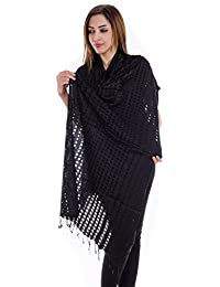 Jingle Impex Black Kashmir Cut Work Dupatta For Women