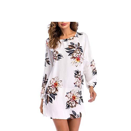 chen Bequeme Runde Kragen mit Langen Ärmeln Kleid locker sitzende Bandage Dress (Farbe : Weiß, Größe : M) ()