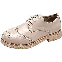 Zapatos planos deportes casual correa mujer,Sonnena ❤️ Zapatos de cabeza redonda de estilo británico Zapatos de encaje Brock tallados Zapatos pequeños casuales para estudiantes