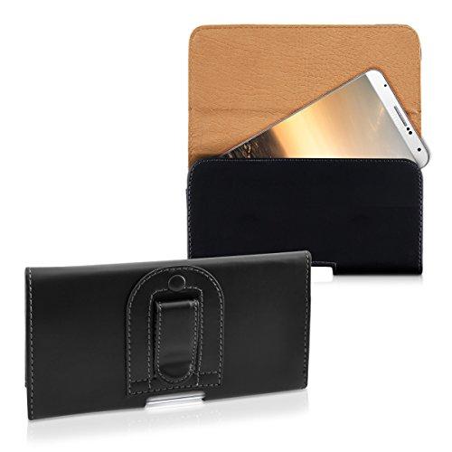 kwmobile Housse pour ceinture pour Smartphones avec clip ceinture - Étui pour ceinture en cuir synthétique avec passant de ceinture en noir Dimensions intérieures: env. 16,1 x 9,2 cm