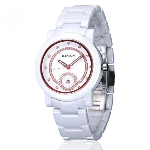 binlun weiblich Big Japanisches Quarz-Kristall akzentuierten weiß Keramik Uhr mit Ewiger Kalender Datum Sekunden für (Dress Fancy Weiblich)