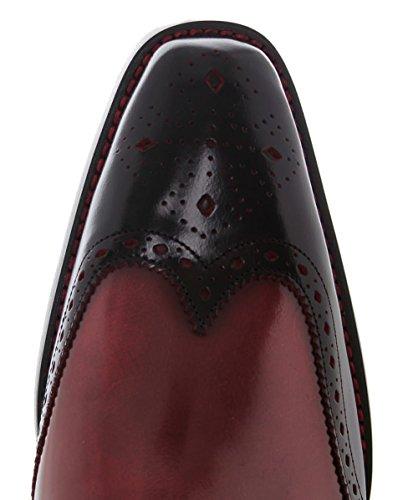 Jeffery-West Hommes Chaussures de bout d'aile de Dexter Bay Noir & Rouge Noir & Rouge