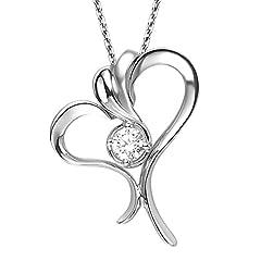 Idea Regalo - Aooaz Donna Collana Catena 18K Bianco Oro Argento Cuore 1 Diamante Ciondolo Collana Catena 45 Cm Nozze Collane Classico