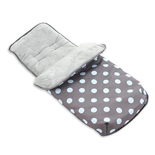 Mi Babiie lujo, diseño de lunares, color gris con forro polar saco para cochecito o silla que se adapta a todos los cochecitos, cochecitos y sistemas de viaje–mbzzcosypd