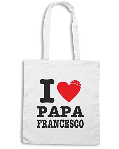 T-Shirtshock - Borsa Shopping T0462 i love papa francesco Bianco