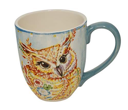 Duo Jumbotasse Becher XXL folkloristische Deko 810 ml aus Keramik Trinkbecher Smoothie Becher Geschenk Büro Tasse für Kaffee Teetasse Cappuccino Kaffeebecher Jumbo-Tasse Riesentasse XXXL (Eule) - Mikrowelle Milch Tasse