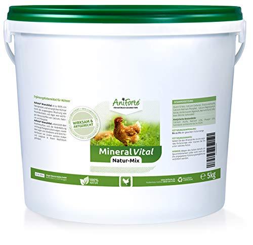 AniForte Mineral Vital Natur-Mix 5 kg mit Mineralien Muschelgrit Kalk für Knochen Feder - Naturprodukt für Hühner -