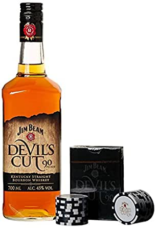 jim beam devil 39 s cut bourbon whiskey geschenkset mit pokerset 1 x 0 7 l bier wein. Black Bedroom Furniture Sets. Home Design Ideas